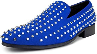 Amali Kurnin Spiked and Studded Mens Loafers Velvet Slip On Shoes for Men, Runs Large we Suggest Sizing 1/2 a Size Down