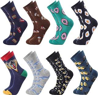 GuKKK, Calcetines Estampados, 8 Pares Calcetines Hombres Mujer Divertidos, Calcetines Algodon Estampados Impresos de Pintura de Arte, Ocasionales Calcetines Divertidos, Calcetines de Colores