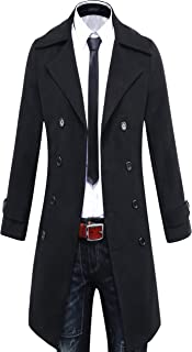 Men's Trench Coat Winter Long Jacket Double Breasted Overcoat