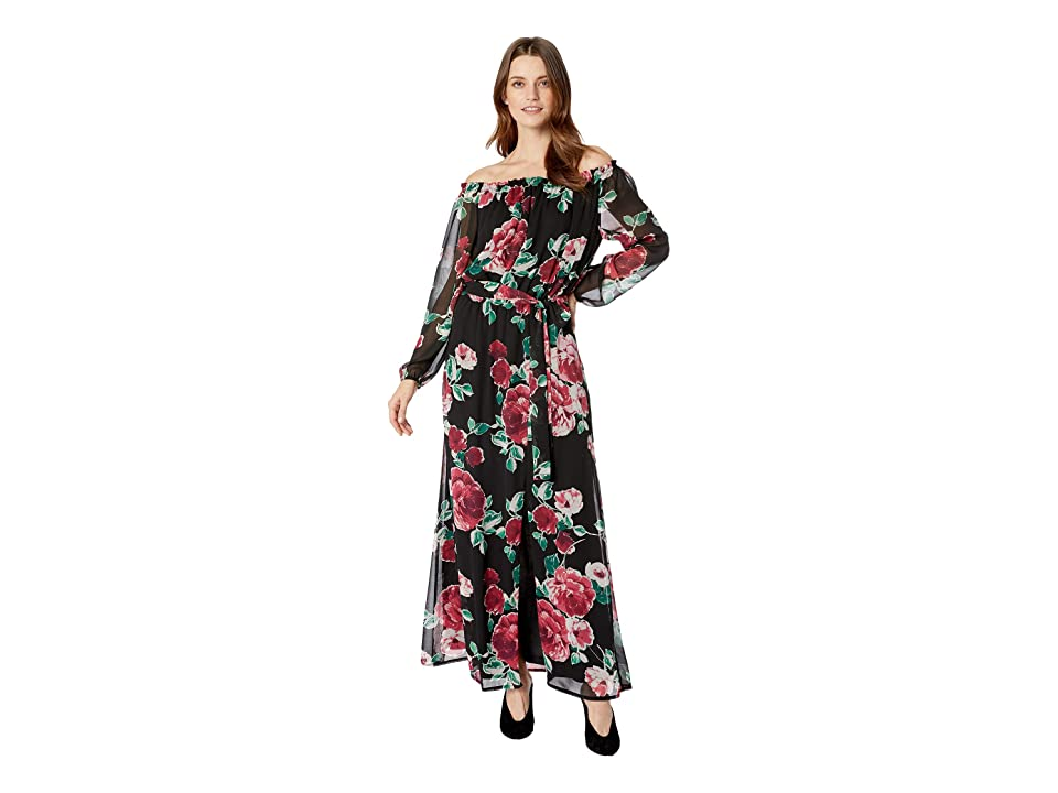 Nine West Printed Chiffon Long Sleeve Maxi w/ Sash Waist (Black/Ruby Red Multi) Women