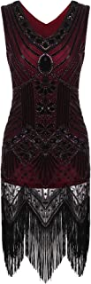 Women's Gatsby Sequin Dress Vintage V Neck Flapper Cocktail Party Dress