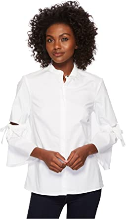 Ellen Tracy Poplin Shirt With Cut Out Sleeve