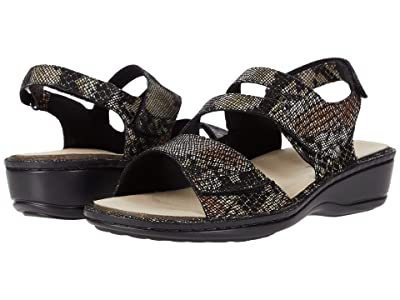 Aravon Cambridge Three Strap (Black Snake Multi) Women