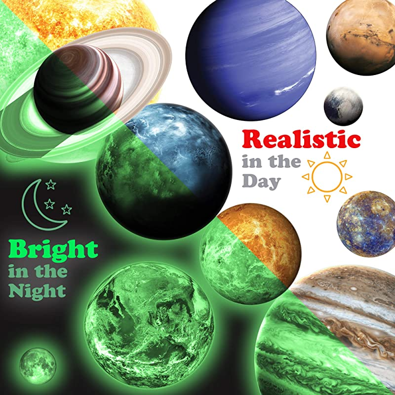 MAFOX 11 Glow In The Dark Planets Bright Solar System Wall Stickers Sun Earth Mars And So On 11 Glowing Ceiling Decals For Bedroom Living Room Shining Space Decoration For Kids For Girls