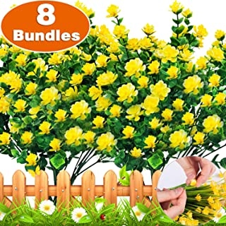 TURNMEON Artificial Flowers, 8 Bundles Faux Outdoor UV Resistant Daffodils Greenery Shrubs Plants Artificial Fake Flowers Indoor Outside Hanging Planter Home Garden Decor
