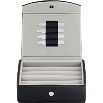 Mens Leather Travel Cufflinks Ring Storage Box Case with 2 Free Pairs Metal Collar Stays - Holds 9 To 12 pairs.