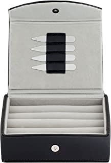 Mens Leather Travel Cufflinks Ring Storage Box Case with 2 Pairs Metal Collar Stays - Holds 9 To 12 pairs