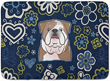 "Caroline's Treasures Blue Flowers English Bulldog Floor Mat, BB5070RUG, Multicolor, 19"" x 27"""