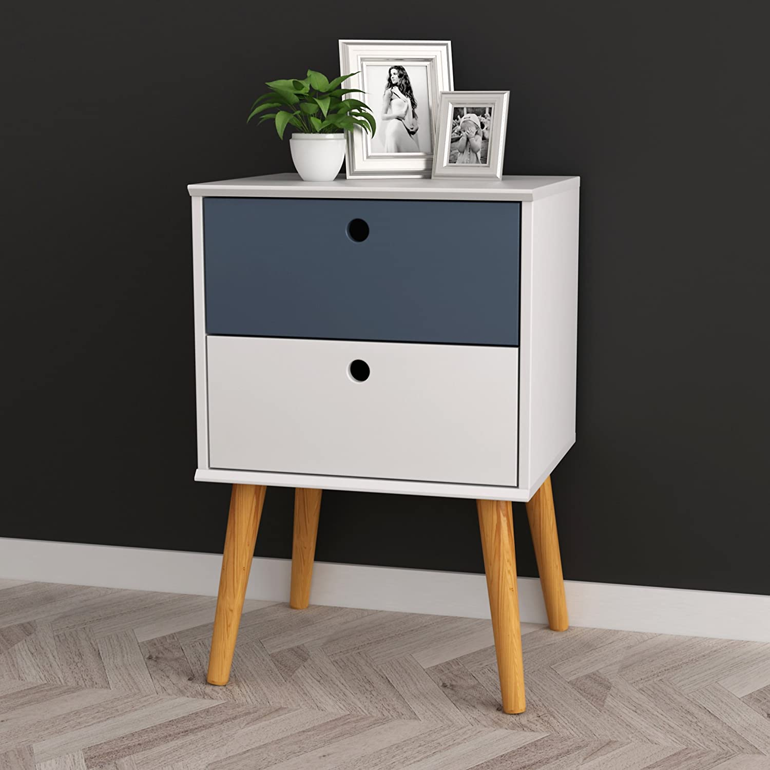 White Grey Finish Modern Mid-Century Style Nightstand Side Table Two Drawer