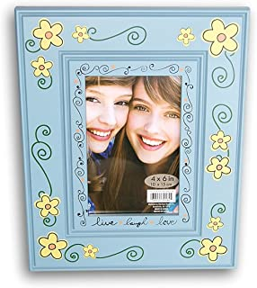 Blue Painted Daisies ''Live Laugh Love'' Gift Stand Up Photo Frame - 8.25'' x 10.25''