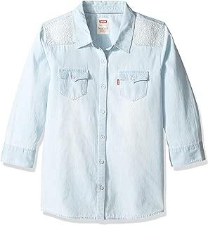 Girls' 3/4 Sleeve Button Up Shirt