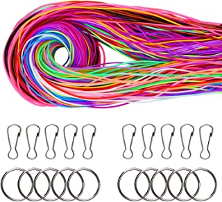 Coobey 200 Pieces Scoubidou Strings Plastic Lacing String Craft Gimp String Multi-Color DIY Craft Cord Jewelry Making Pack with Snap Clip Hooks Keychain Ring Clips, 656-Feet, 20 Colors