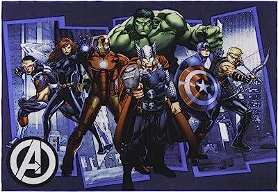 Amazon Com Gertmenian Marvel Avengers Rug Superhero City Bedding Area Carpet 5x7 Large Navy Blue Furniture Decor