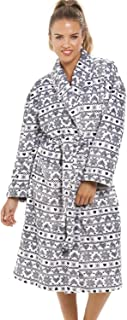 Camille Donna Nightwear grigio chiaro Supersoft pile Cuore Stampa Accappatoio