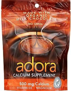 Adora 500 Milligram Calcium Supplement Disk, Organic Milk Chocolate, 30 Count (12 Pack)
