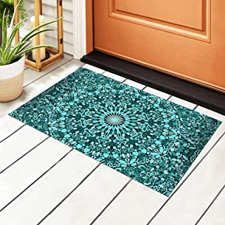 Welcome Outdoor Door Mat Non-Slip Doormats Teal Bohemian Kaleidoscope Mandala Floral Arabesque Door Indoor Entrance Rug Pa...