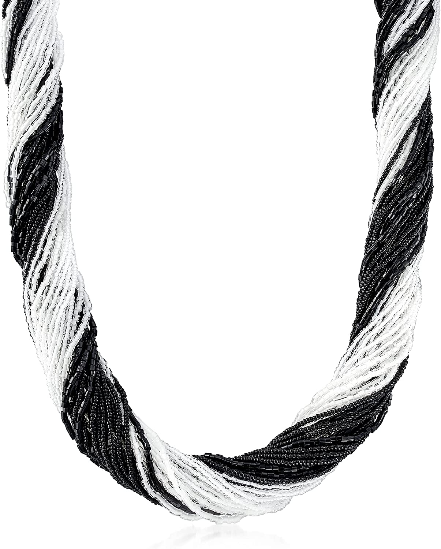Ross-Simons Italian Black and White Murano Ne 海外限定 Glass Bead ショッピング Torsade