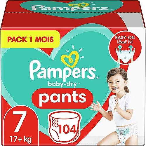 Pampers Couches-Culottes Baby-Dry Pants Taille 7 (+17kg) Maintien 360° pour Éviter les Fuites, Faciles à Changer, 104...