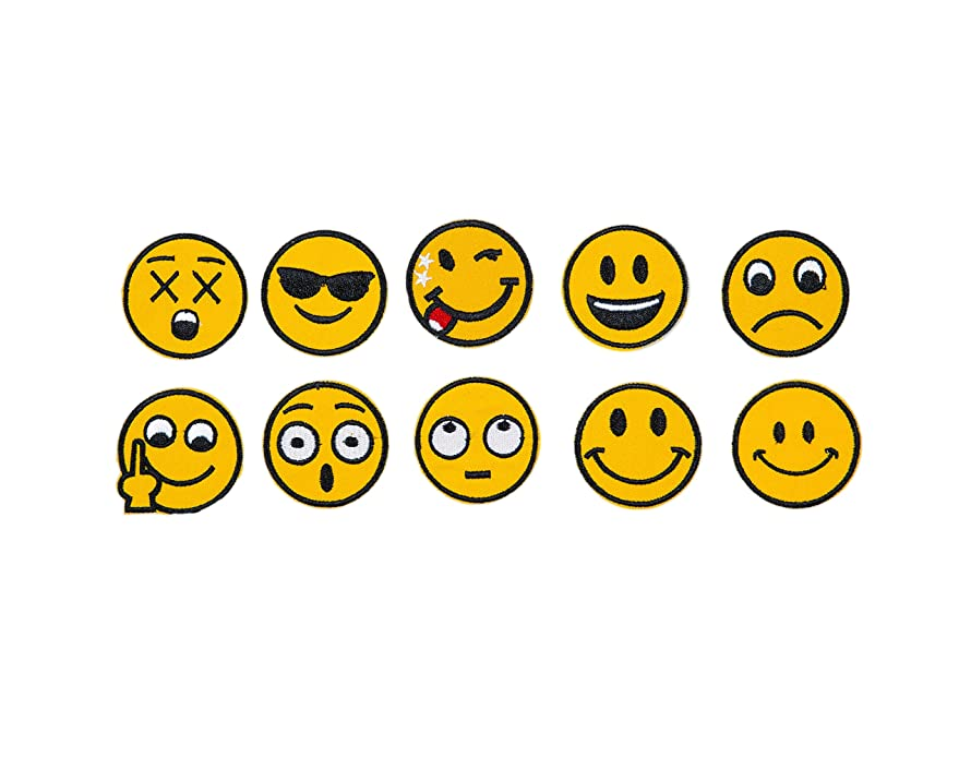Emoji Embroidery Applique Decoration DIY Patch Set of 10 funny Custom design Emojies face kit iron on for shirt Jacket bag hat pant vest jean cotton clothe kid will love Great as happy birthday gift