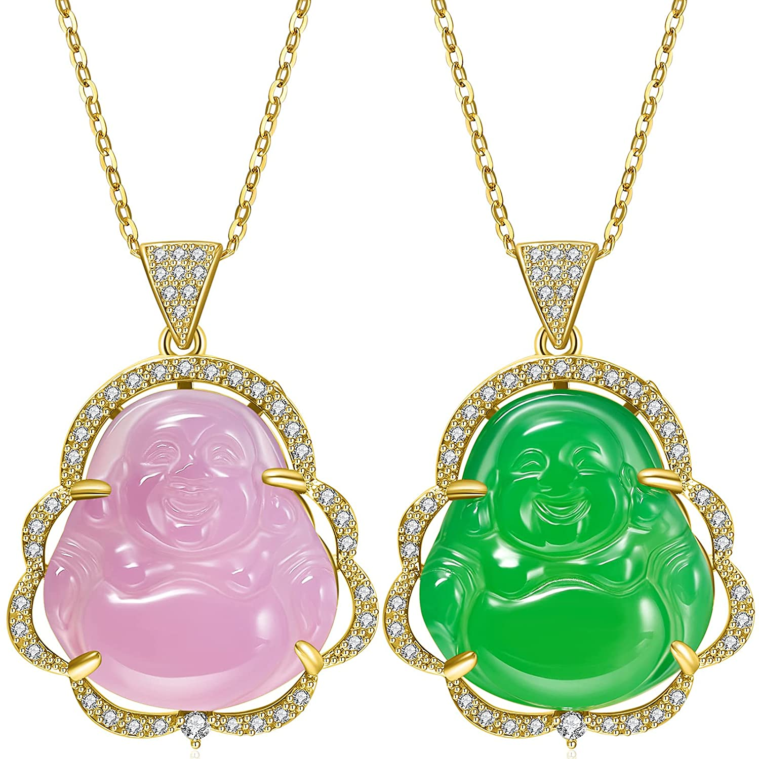 2 Pieces Buddha Pendant Necklace Green Pink Jade Smiling Buddha Chain Gold Bling Necklace Dainty Amulet Jewelry for Women Men