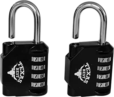 Texas Best 4 Digit Combination Padlock (Over 10,000 Different Combinations) for Gym & Sports Lockers, School, Fence, Toolbox, Case, Hasp Storage | Pack of 2 Units (Black Color) (Model 2)