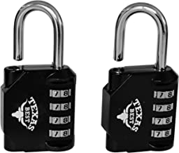 Texas Best 4 Digit Combination Padlock (Over 10,000 Different Combinations) for Gym & Sports Lockers, School, Fence, Toolbox, Case, Hasp Storage   Pack of 2 Units (Black Color) (Model 2)