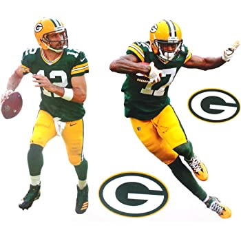 Amazon Com Aaron Jones Fathead Teammate Gb Packers Logo Set Official Nfl Vinyl Wall Graphics 17 Inch Kitchen Dining