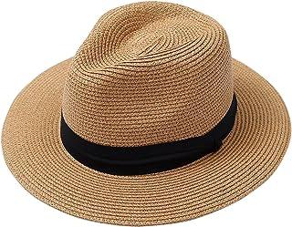 8644bc42 Lanzom Men Wide Brim Straw Foldable Roll up Hat Fedora Summer Beach Sun Hat  UPF50+