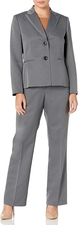 Le Suit Women's Plus Size Striped Herringbone 2 Button Notch Collar Pant Suit