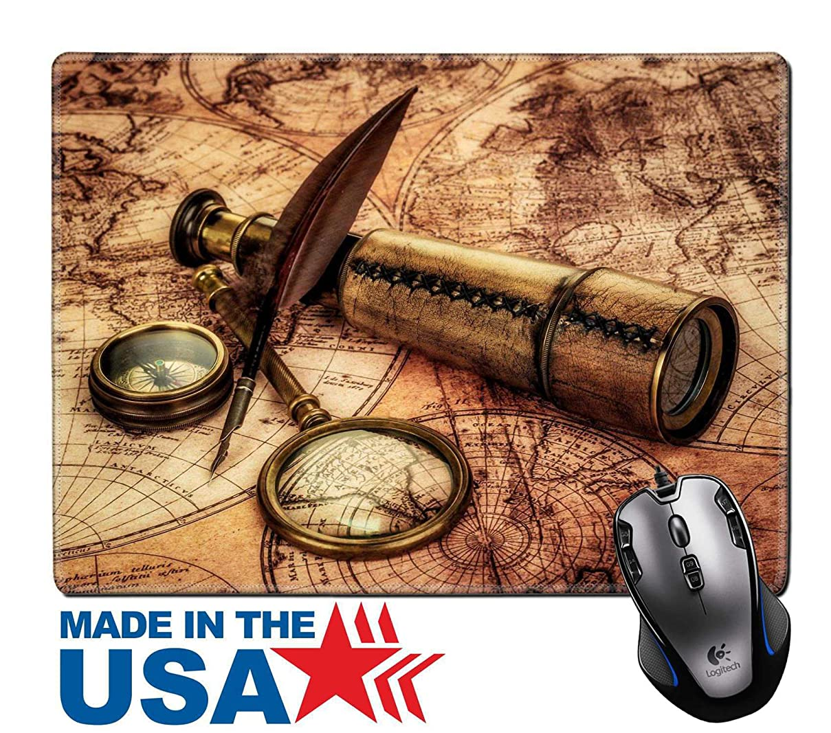 MSD Natural Rubber Mouse Pad/Mat with Stitched Edges 9.8  x 7.9  Vintage Magnifying Glass Compass Goose quill Pen and Spyglass Lying on an Old map 19447728 Customized Desktop Laptop Gaming Mouse Pad dcbeuzqdspy6