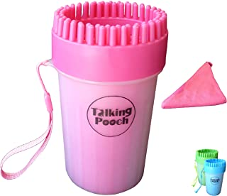 Talking Pooch Dog Paw Cleaner - Portable Paw Cleaning Cup with Silicone Brush & Gentle Bristles - Comes with Color Matching Towel - Cleans Dirty Muddy Pet Paws