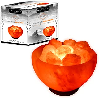 Whiteswade Himalayan Salt Lamp Signature 'Rumeisa Firebowl' with Salt Chips, 6ft UL-Approved Dimmer Switch and Bulb. Authentic Himalayan Crystal Rock. Perfect Gift Idea. Popular Feng Shui Decor