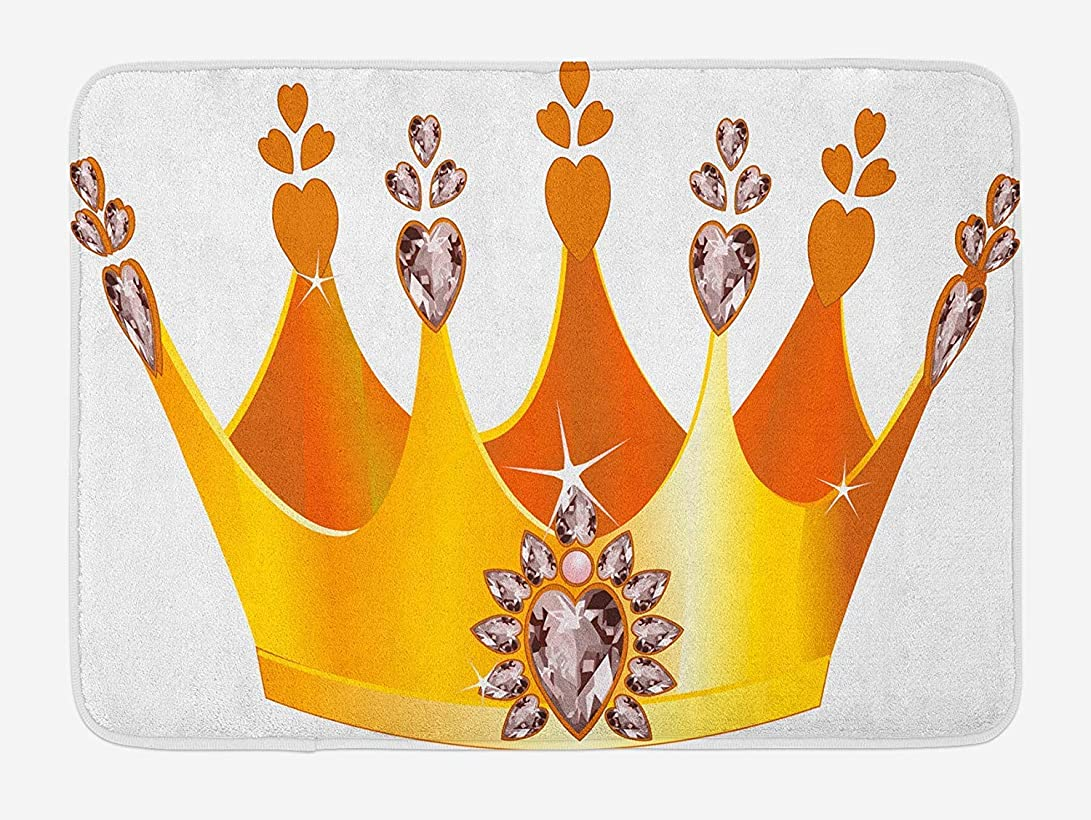一トラップ複合Queen Bath Mat, Gold Colored Tiara Cartoon Princess Hearts Floral Details Fairytale Character, Plush Bathroom Decor Mat with Non Slip Backing, 23.6 W X 15.7 W Inches, Yellow Dried Rose