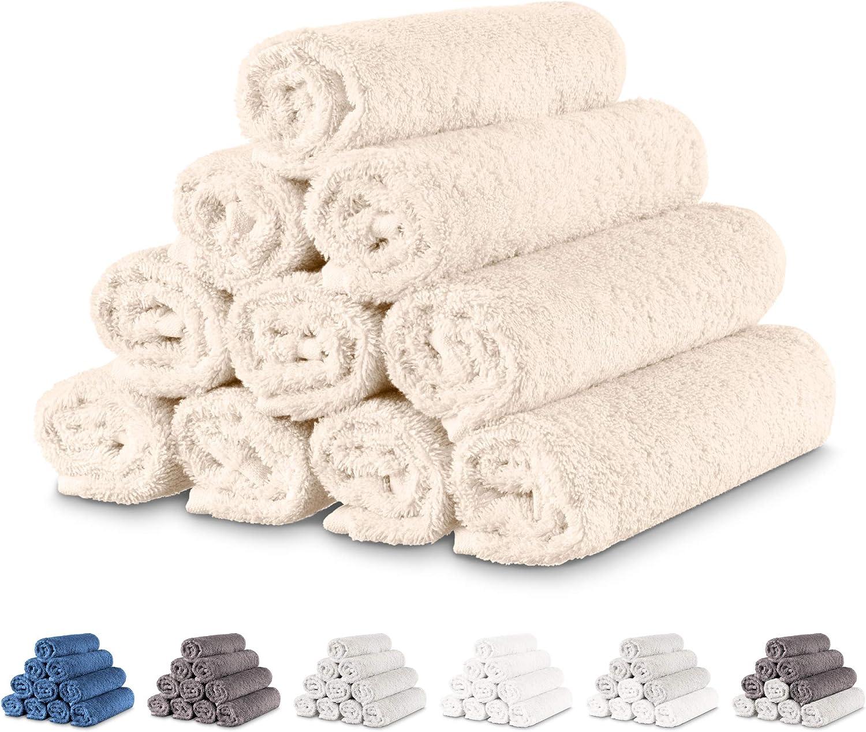 Twinzen - 10 x Pequeñas Toallas de Mano 30x50 cm. Beige. Toallas de Baño para Mano, Esponja, Set de Baño, Juego de Toallas de Mano, pequeñas Toallas de Mano para el Lavabo