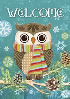 Best Morigins Cute Owl Christmas Holly Winter Double Sided House Flag 28x40 Review