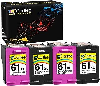 Cartlee Pack 4 Remanufactured 61XL High Yield Ink Cartridges for Deskjet 1000 1010 1050 1055 1510 1512 2000 2050 2510 2512 2540 2542 2543 2549 3000 3050 Envy 4500 4501 4502 4503 4504 (2 Black 2 Color)