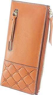 AINIMOER Women's RFID Blocking Large Capacity Luxury Genuine Leather Clutch Wallet Card Holder Organizer Ladies Purse(Vintage Brown)