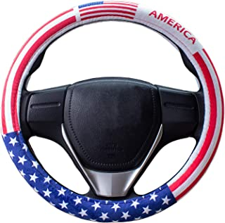 Steering Wheel Cover,American Flag Plush Auto Car Steering Wheel Cover Universal 38cm/15