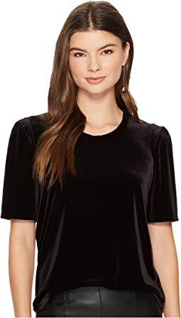 1.STATE - Short Sleeve Puff Sleeve Velvet Top