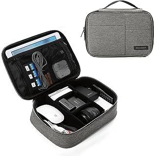 BAGSMART Electronics Travel Organizer Bag for Adaptors, Chargers, iPhone, iPad air, iPad Mini, 9.7'' iPad Pro, Kindle, Grey