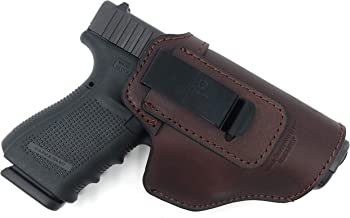 IWB Gun Holster - Brown Leather Concealed Carry | Suede Interior for Maximum Protection Fits: Glock 17, 19, 20, 21, 22, 23, 24, 25, 26 | Springfield XD, XDS, XDM, HK P7, P30, Kahr P30, P40, P45