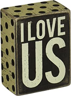 Primitives by Kathy Polka Dot Trimmed Box Sign, 3 x 4-Inches, I Love Us