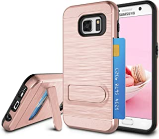 Galaxy S7 Case, S7 Card Holder Cover, Jeylly Rose Gold [Metal Satin] Card Holder with Kickstand Hybrid Dual Layer Hard Plastic + Soft TPU Drop Protection Case Cover for Samsung Galaxy S7 G930