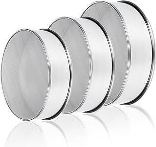 Yopay 3 Pack 304 Stainless Steel Fine Flour Sieve, 60 Mesh 6 Inch/ 8 Inch/ 9.5 Inch Baking Fine Mesh Strainer, Round Sifte...