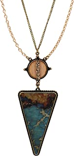Women's Turquoise Wood Triangle Pendant Extra Long Statement Necklace