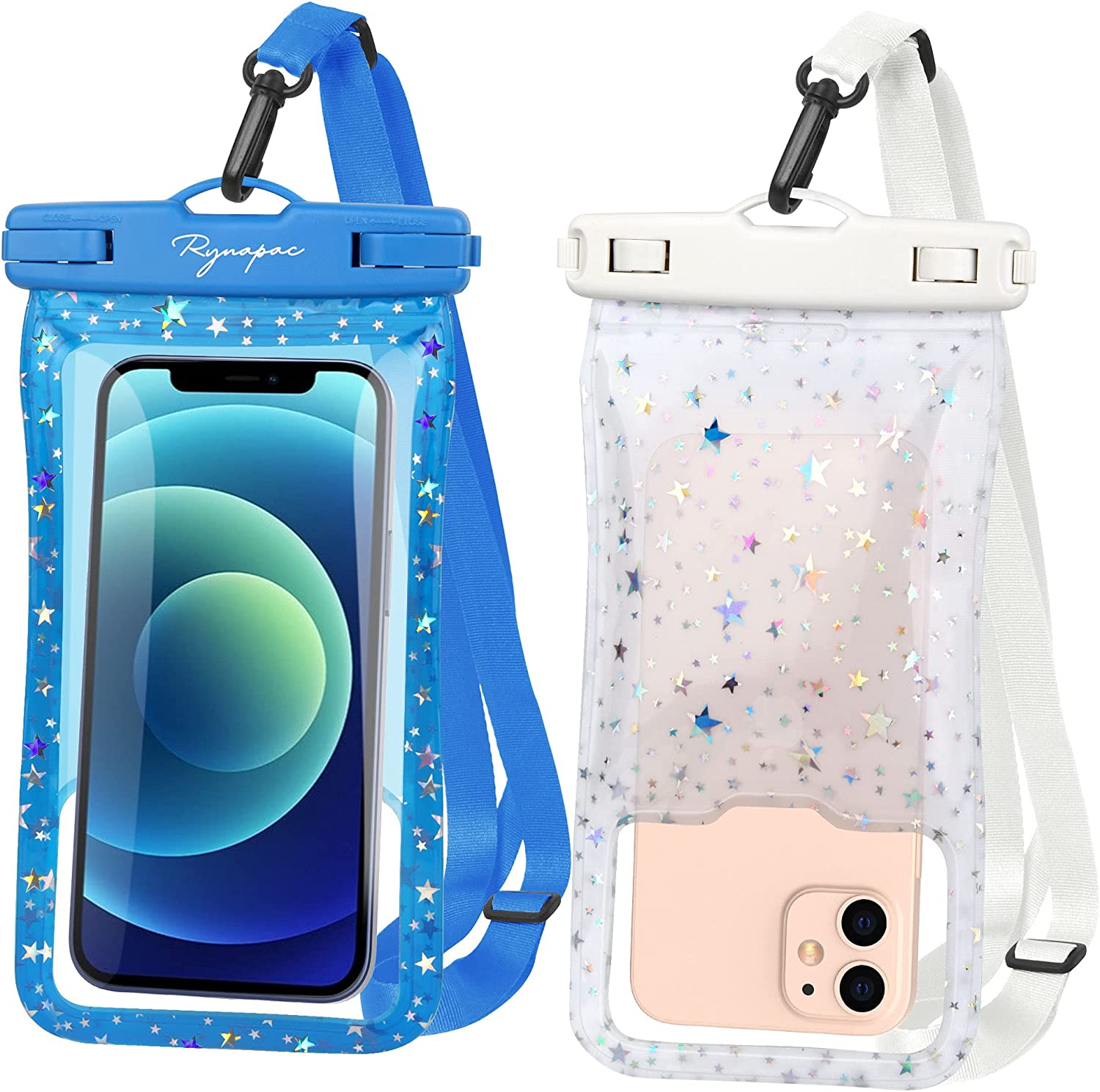 Rynapac A06 TPU Floating Waterproof Cellphone Pouch with Airbag, IPX8 Cell Phone Pouch, Cellphone Dry Bags, Up to 7'' for Kayak, Travel, Swimming, Boating, Fishing, Hiking, SUP, River Tubing, 2 Pack