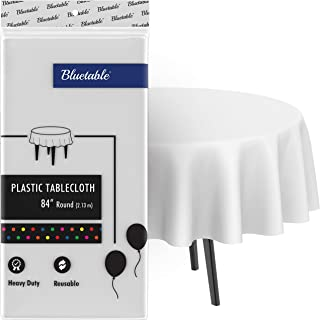 """White Plastic Tablecloth Round Disposable Table Cloth (84"""" Inches) 4, 5, or 6 Foot Round Tables, Premium (Manteles para Fi..."""