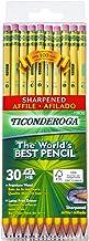 Ticonderoga Pencils, Wood-Cased Graphite #2 HB Soft, Pre-Sharpened, Yellow, 30-Pack (13830)