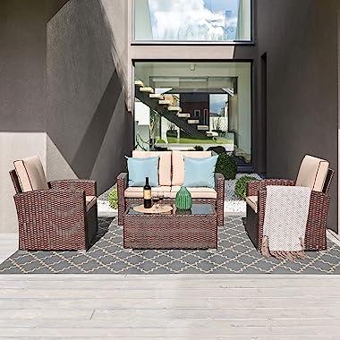 JOIVI Patio Furniture Set, 4 Piece Outdoor Patio Conversation Set, All-Weather PE Rattan Wicker Small Sectional Patio Sofa Se