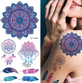 Supperb Temporary Tattoos - Inspired Mandala Blue Healing Yoga Meditation Dreamcatcher Feather Elephant Tattoo